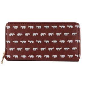 Handbags - Crimson Red & Cream Elephant Vinyl Wallet/ Clu